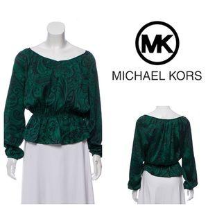 Michael Michael Kors• Green Paisley Peplum Top